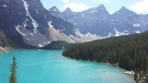 Have you ever seen water so blue? Lake Moraine is stunning.