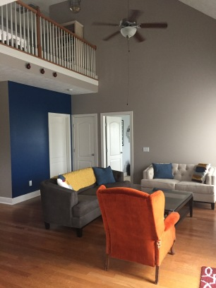 After: greige & blue. Also, RIP old orange chair.